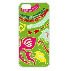 Green Organic Abstract Apple Iphone 5 Seamless Case (white) by DanaeStudio