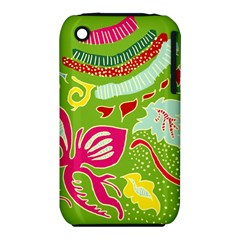 Green Organic Abstract Apple Iphone 3g/3gs Hardshell Case (pc+silicone) by DanaeStudio