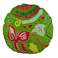 Green Organic Abstract Large 18  Premium Round Cushions by DanaeStudio
