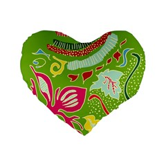 Green Organic Abstract Standard 16  Premium Heart Shape Cushions by DanaeStudio