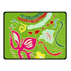Green Organic Abstract Double Sided Fleece Blanket (small)  by DanaeStudio