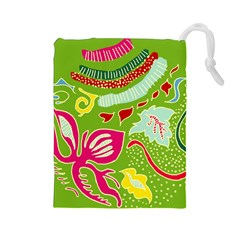 Green Organic Abstract Drawstring Pouches (large)  by DanaeStudio