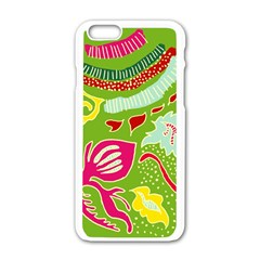 Green Organic Abstract Apple Iphone 6/6s White Enamel Case by DanaeStudio