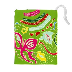 Green Organic Abstract Drawstring Pouches (extra Large) by DanaeStudio