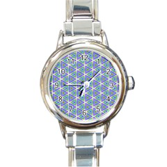 Colorful Retro Geometric Pattern Round Italian Charm Watch