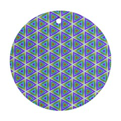 Colorful Retro Geometric Pattern Ornament (round)