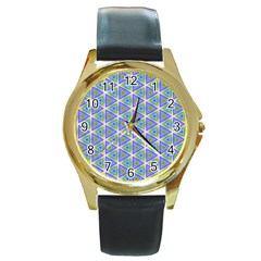 Colorful Retro Geometric Pattern Round Gold Metal Watch
