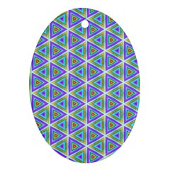 Colorful Retro Geometric Pattern Oval Ornament (two Sides)