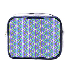 Colorful Retro Geometric Pattern Mini Toiletries Bags by DanaeStudio
