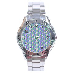 Colorful Retro Geometric Pattern Stainless Steel Analogue Watch by DanaeStudio