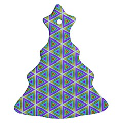 Colorful Retro Geometric Pattern Christmas Tree Ornament (2 Sides) by DanaeStudio