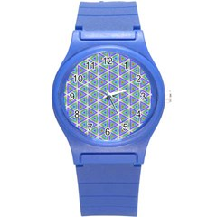 Colorful Retro Geometric Pattern Round Plastic Sport Watch (s) by DanaeStudio