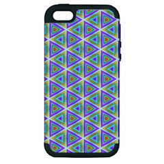 Colorful Retro Geometric Pattern Apple Iphone 5 Hardshell Case (pc+silicone) by DanaeStudio