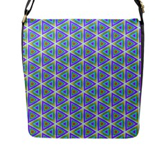 Colorful Retro Geometric Pattern Flap Messenger Bag (l)  by DanaeStudio