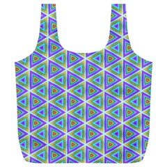 Colorful Retro Geometric Pattern Full Print Recycle Bags (l)