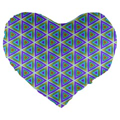 Colorful Retro Geometric Pattern Large 19  Premium Flano Heart Shape Cushions
