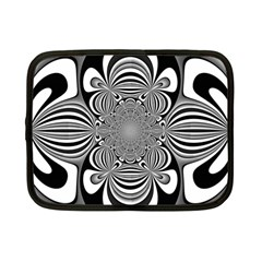 Black And White Ornamental Flower Netbook Case (small)  by designworld65