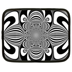 Black And White Ornamental Flower Netbook Case (large) by designworld65