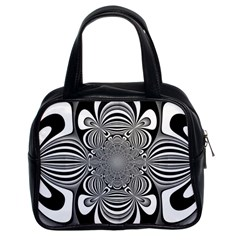 Black And White Ornamental Flower Classic Handbags (2 Sides) by designworld65