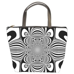 Black And White Ornamental Flower Bucket Bags by designworld65