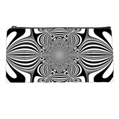 Black And White Ornamental Flower Pencil Cases by designworld65