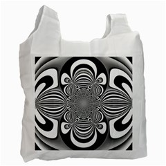 Black And White Ornamental Flower Recycle Bag (one Side) by designworld65
