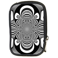 Black And White Ornamental Flower Compact Camera Cases by designworld65