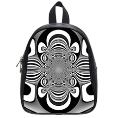 Black And White Ornamental Flower School Bags (small)  by designworld65
