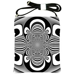 Black And White Ornamental Flower Shoulder Sling Bags by designworld65