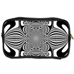 Black And White Ornamental Flower Toiletries Bags by designworld65