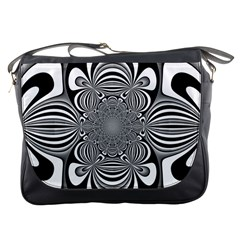 Black And White Ornamental Flower Messenger Bags by designworld65