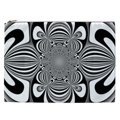 Black And White Ornamental Flower Cosmetic Bag (xxl)  by designworld65