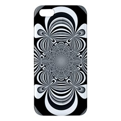 Black And White Ornamental Flower Apple Iphone 5 Premium Hardshell Case by designworld65