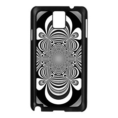 Black And White Ornamental Flower Samsung Galaxy Note 3 N9005 Case (black) by designworld65