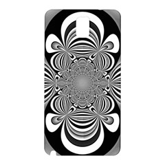 Black And White Ornamental Flower Samsung Galaxy Note 3 N9005 Hardshell Back Case by designworld65