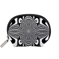 Black And White Ornamental Flower Accessory Pouches (small)  by designworld65