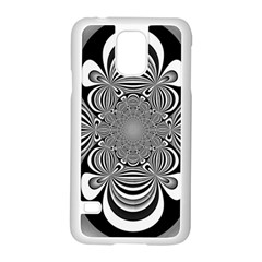 Black And White Ornamental Flower Samsung Galaxy S5 Case (white) by designworld65