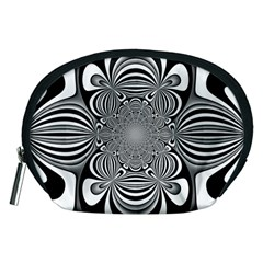 Black And White Ornamental Flower Accessory Pouches (medium)  by designworld65