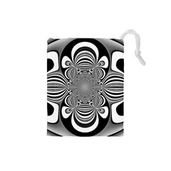 Black And White Ornamental Flower Drawstring Pouches (small)  by designworld65