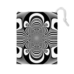 Black And White Ornamental Flower Drawstring Pouches (large)  by designworld65