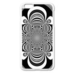 Black And White Ornamental Flower Apple iPhone 6 Plus/6S Plus Enamel White Case Front