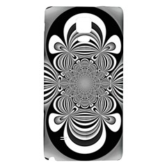 Black And White Ornamental Flower Galaxy Note 4 Back Case by designworld65