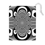 Black And White Ornamental Flower Drawstring Pouches (Extra Large) Front