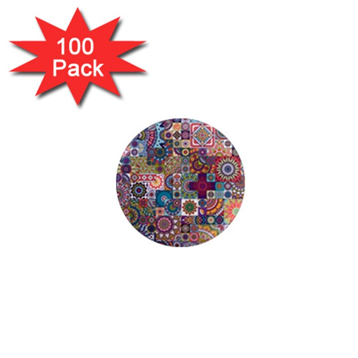 Ornamental Mosaic Background 1  Mini Magnets (100 pack)