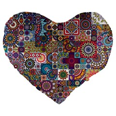 Ornamental Mosaic Background Large 19  Premium Flano Heart Shape Cushions by TastefulDesigns
