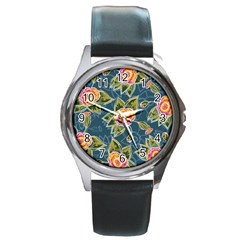 Floral Fantsy Pattern Round Metal Watch by DanaeStudio