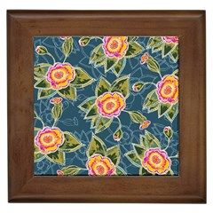 Floral Fantsy Pattern Framed Tiles by DanaeStudio