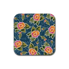 Floral Fantsy Pattern Rubber Coaster (square)  by DanaeStudio