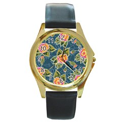 Floral Fantsy Pattern Round Gold Metal Watch by DanaeStudio