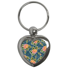 Floral Fantsy Pattern Key Chains (heart)  by DanaeStudio